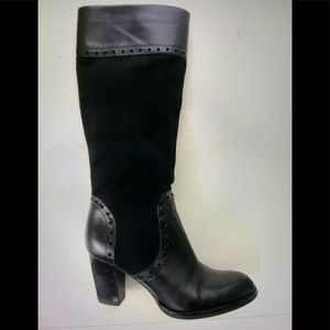 Franco Sarto Black Suede and Leather Tall Boots